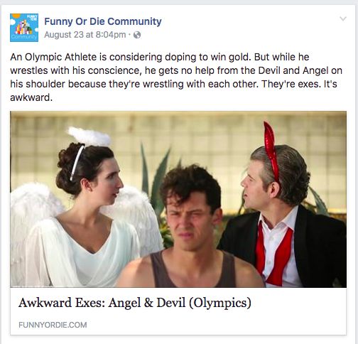 "We Are Thomasse's ""Awkward Exes: Devil & Angel (Olympics)"" video featured on Funny or Die Community facebook page"