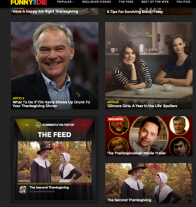 the second thanksgiving bye we are thomasse on the front page of funny or die twice